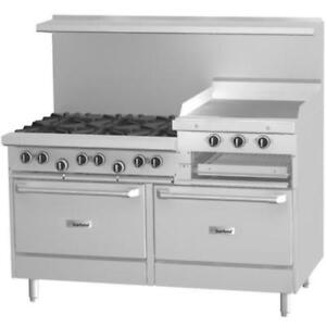 "6 Burner 60"" Gas Range w/ 24"" Raised Griddle/Broiler and 2 Ovens *RESTAURANT EQUIPMENT PARTS SMALLWARES HOODS AND MORE*"