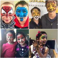 face painting, balloon and glitter tattoos