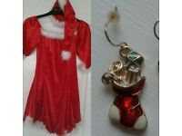 Christmas Dress; Includes Hat, & Earrings
