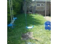 Swing and seesaw garden set
