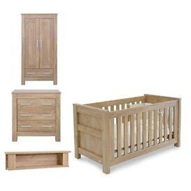 Babystyle Bordeaux Nursery Furniture Set Cot Bed Wardrobe Dresser and Shelf