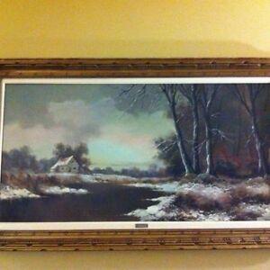 tableaux a huile cadre vintage paysage hiver signé G.Perly 150$