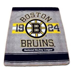"New NHL Ice Hockey Boston Bruins Fleece Throw 50"" x 60"" Official"