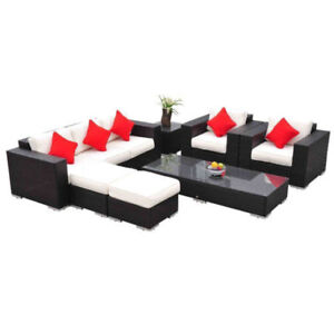 7 pcs patio furniture garden Rattan Wicker patio sofa set