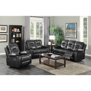 Black Friday Sale Air Leather 3 Piece Recliner Set Start from