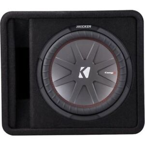 "Kicker - CompR 12"" Dual-Voice-Coil 2-Ohm Loaded Subwoofer Enclos"