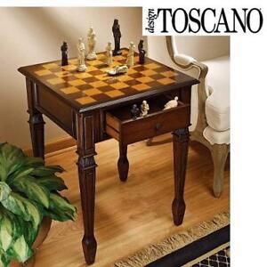 NEW WALPOLE CHESS GAMING TABLE DE302 216324322 DESIGN TOSCANO MANOR 66CM HARDWOOD WALNUT STRATEGY GAME