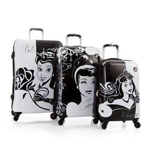 New Disney Hardside Princess Expandable 3 PCS Luggage Set
