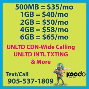 ★ $65 Koodo Plan ★ 6GB LTE ★ UNLTD CDN TLK/TXT ★ + More ★