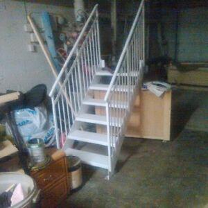 bel escalier aluminium blanc extrieur 6 marche avec rampe