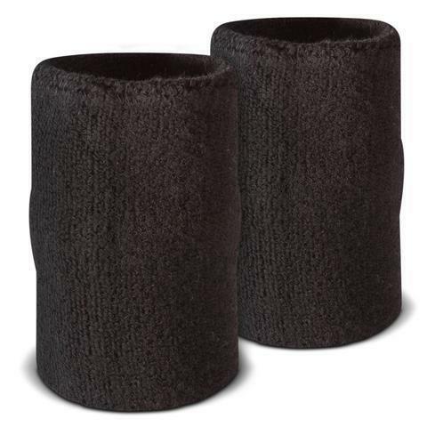 "Solid Black Doublewide Tennis Wristbands Sweatbands Basketball 5"" L x 3"" Wide"