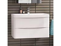 White high gloss wall hung vanity unit 800mm