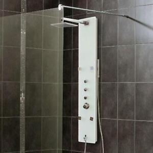 Panneau de douche en verre blanc 4 jets