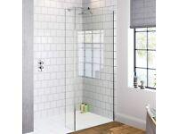 Premium 8mm Easy Clean Safety Glass 1200mm Shower Panel & 250mm Return