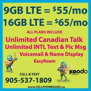 KOODO 9GB LTE $55/mo, 16GB LTE $65/mo + UNLTD CAD Talk & INTL Text  ~ Plans By Cell Phone Guru
