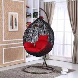 PE Rattan Outdoor Free Standing Hanging Egg Swing Pod  Chair
