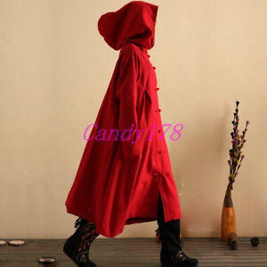 Free Size Red Retro Long Jacket (Coat Trench)
