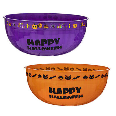"""HALLOWEEN CANDY BOWLS 11.75"""" wide by 4.74"""" high 2PC SET ORANGE & PURPLE NEW"""