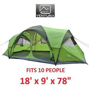 NEW VENTURA 2 ROOM 10 PERSON TENT FAMILY DOME CAMPING GREEN 114153591