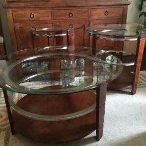 Modern Ashley coffee table and matching  end tables