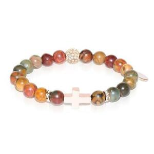 50% OFF All Jewellery - St. Veronica | Rose Gold Cross | Red Picasso Jasper Bracelet