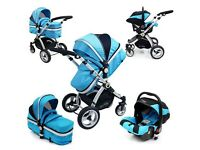 Isafe 3in1 travel system ( ocean blue )Luxury iSafe™ Baby CarSeat