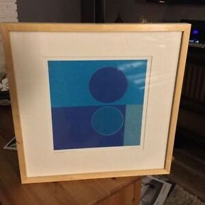 Blue designer framed picture, abstract