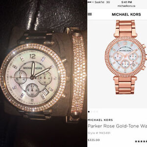 Brand New Michael Kors Watch and Matching Band - Rose Gold