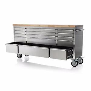 """NEW 72"""" 15 DRAWER STAINLESS STEEL WORK BENCH TOOL BENCH STORAGE"""