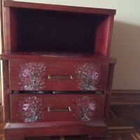 Wood commode with shelf and 2 drawers with brass handles