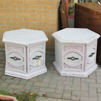 PAINTED RETRO END TABLES DOORS STORAGE LIQUOR CABINET UPCYCLE