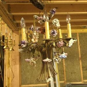 French 4-arm Chandalier with Porcelain Flowers.