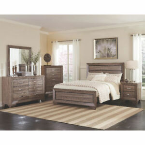 Contemporay, white taupe and rustic finish 5 pc bedroom set