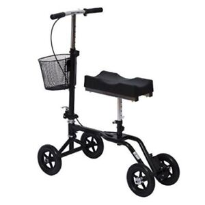 Adjustable Knee Walker/Steerable Medical Scooter w/ Brake Basket