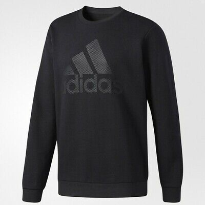 Adidas Mens Essentials 3-Stripe Logo Cotton Pull Over Sweatshirt Black (CG0854)