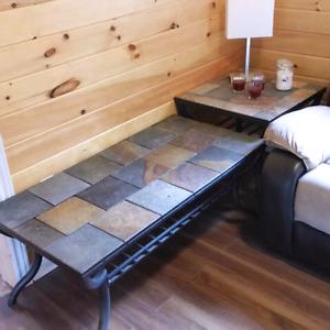 Slate tile Matching coffee and end table set