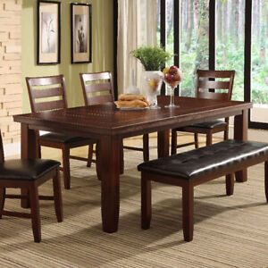 OAK FINISH, HARDWOOD SOLIDS CONSTRUCTION 6 Pc DINING SET
