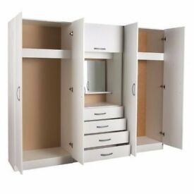 * 28 DAYS MONEY BACK GUARANTY * LARGE 4 DOOR PREASSEMBLED WARDROBE SET + MIRROR + DRAWERS + SHELVES