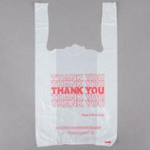 1/8 Size .51 Mil White Thank You Plastic T-Shirt Bag - 1000/Case  *RESTAURANT EQUIPMENT PARTS SMALLWARES HOODS AND MORE*