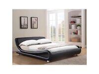 King size Leather Bed Frame Black