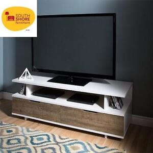 """NEW SOUTH SHORE REFLEKT TV STAND 9065677 189531271 with Drawers for TVs upto 60""""  Weathered Oak/Pure White"""