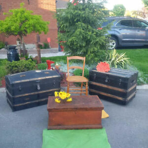 3 ANTIQUE TRUNKS OR CHESTS For COFFEE TABLES with Storage
