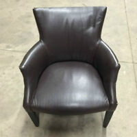 ROUNDED LEATHER TUB CHAIRS - HAVE VISIBLE WEAR - CHEAP