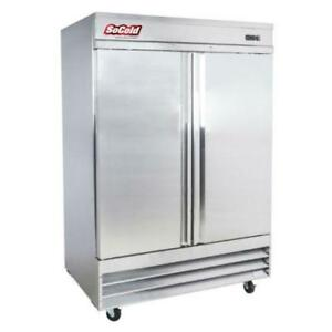 """54"""" Two Section Solid Door Reach in Refrigerator - 46.5 Cu. Ft."""
