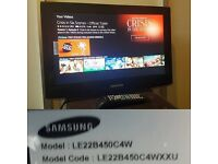 SAMSUNG LE22B450C4W 22 INCH LCD TV (WALL MOUNTABLE NO STAND) BRACKET INCLUDED