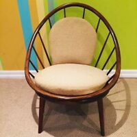 Vintage mid century walnut (not teak) hoop chair by Kofod Larsen