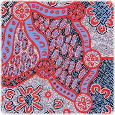 "Women Dreaming Blue aboriginal 44"" fabric by M&S Textiles, WODBL, Per 1/4 yard"