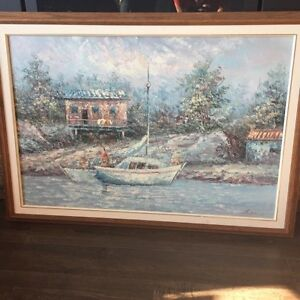 oil painting with solid oak professionally framed Strathcona County Edmonton Area image 1