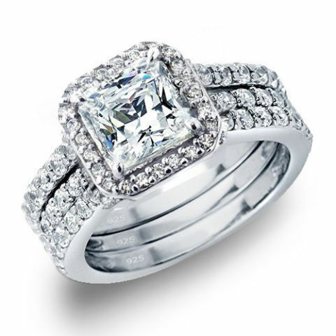 CZ Simulated Lab Created Diamond Tension Style Shank Forever US Two Stone Ring 925 Sterling Silver