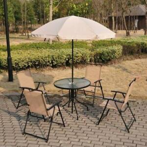 Bistro Umbrella Set Table Chairs 6 Pcs / Patio Garden Furniture patio furniture Foldable Chairs Outdoor Furniture Cream